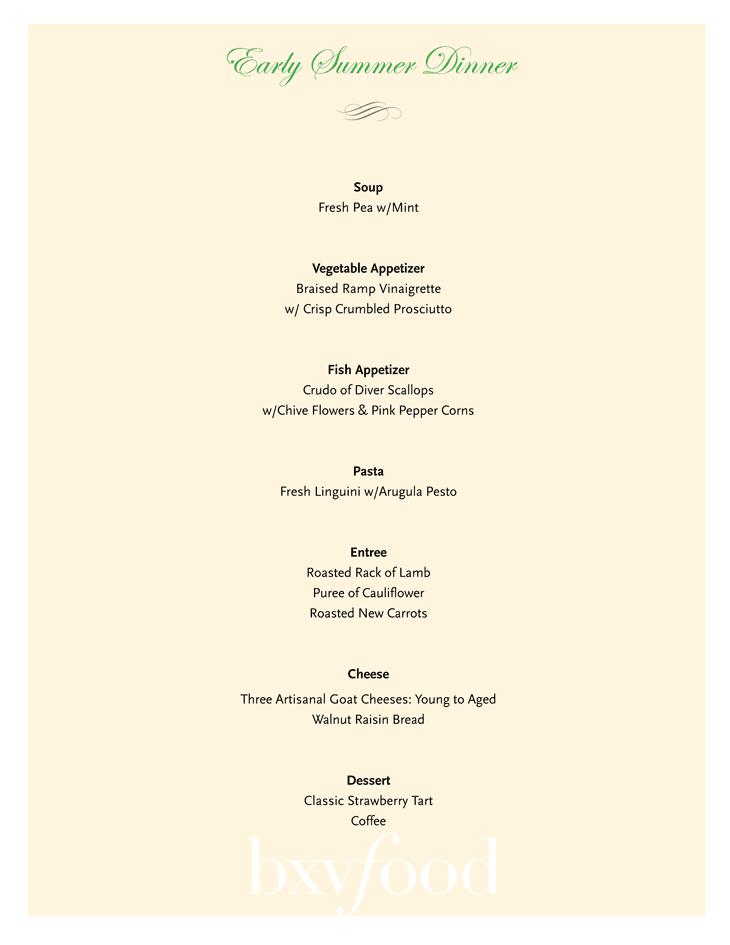 dinner party sample menus