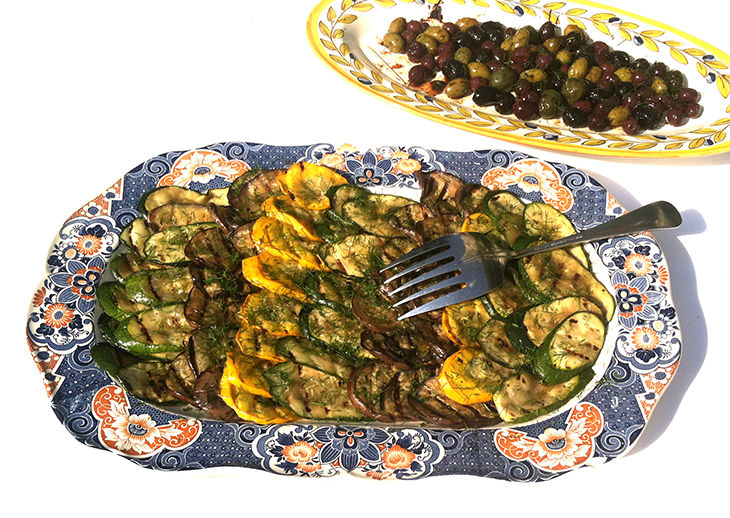 Grilled Zucchini with Fennel and Marinated Mixed Olives