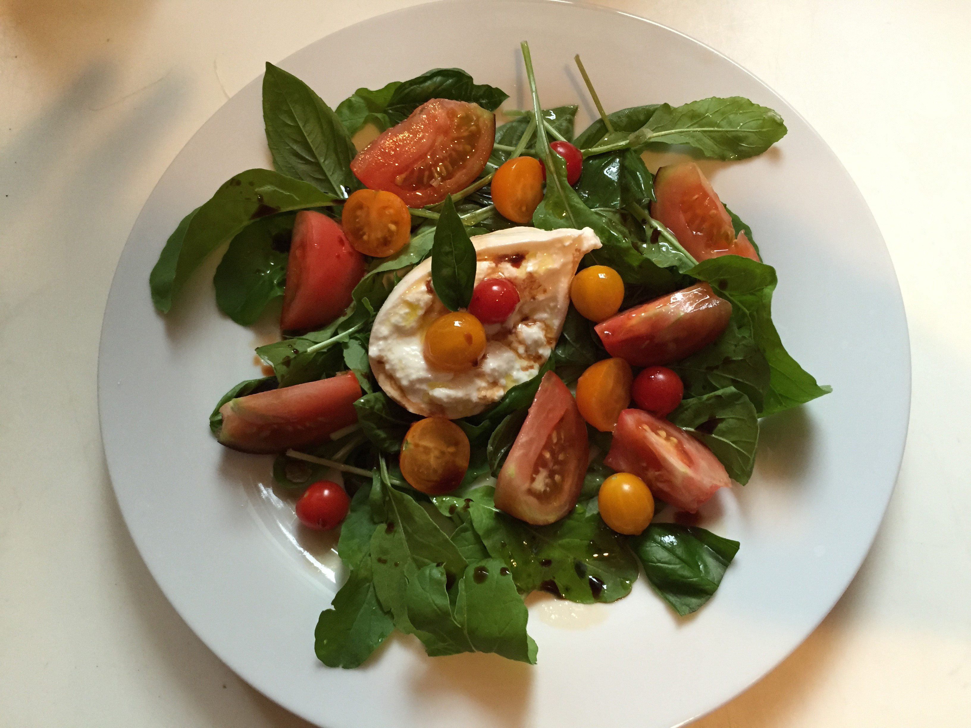 Buratta, Arugula & Heirloom Tomatoes