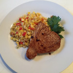 "Tuna Steak with Red Wine Sauce & Capers, Fresh Corn ""Risotto"""