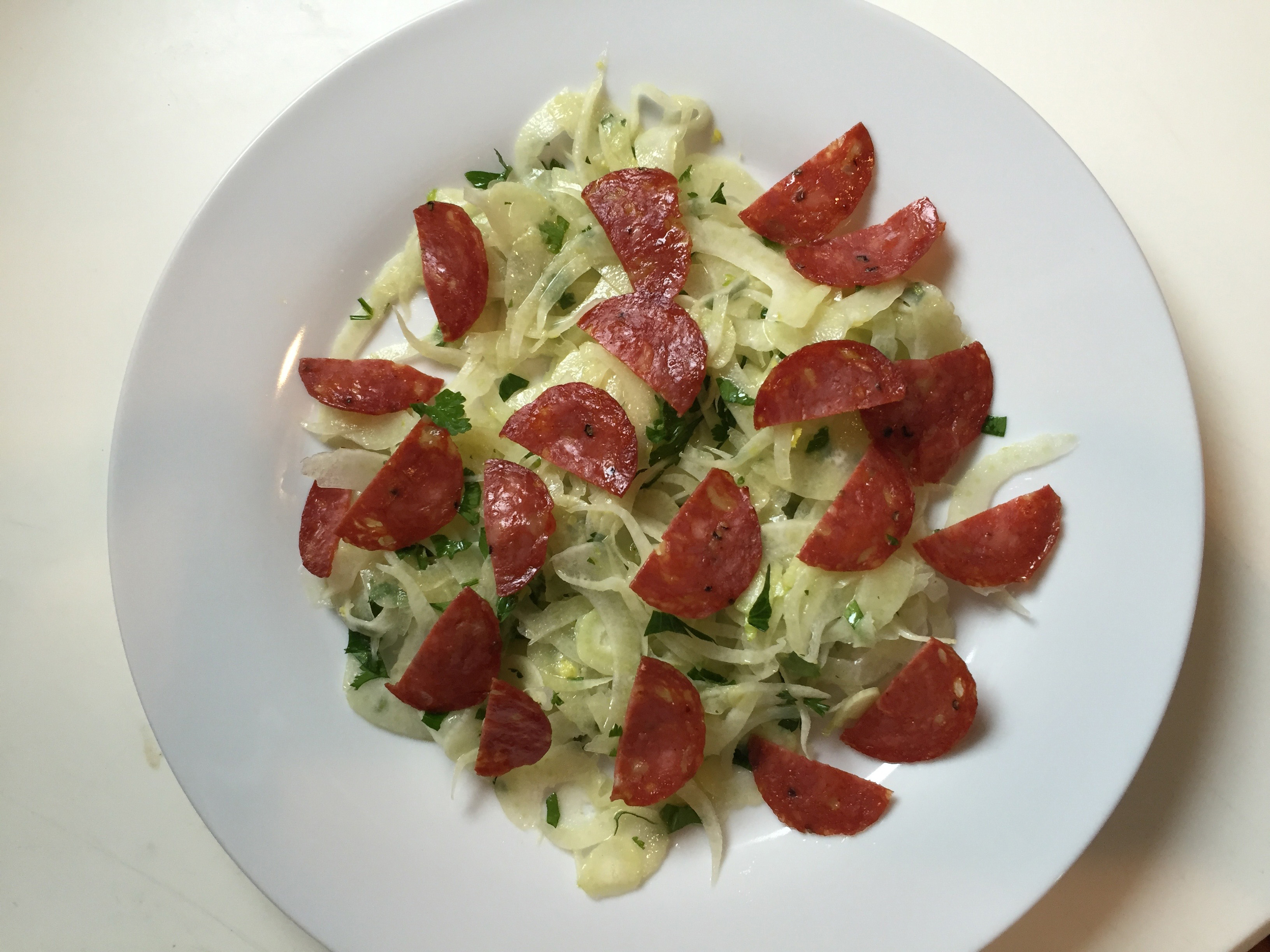 Shaved Fennel Salad with Fried Salami