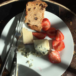 Cheese Plate with Raisin Bread & Strawberries