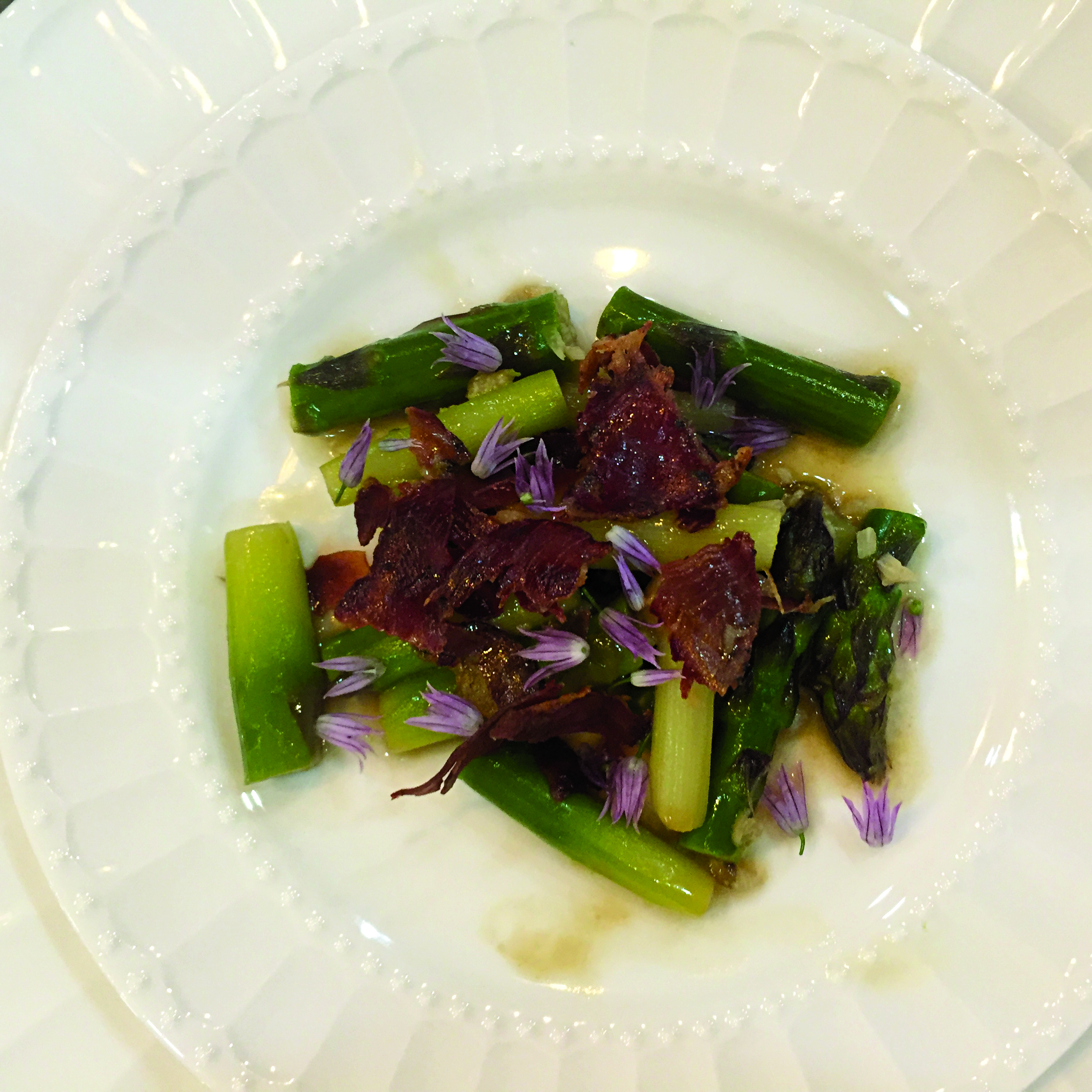 Skillet Braised Asparagus with Crispy Coppa & Chive Flowers