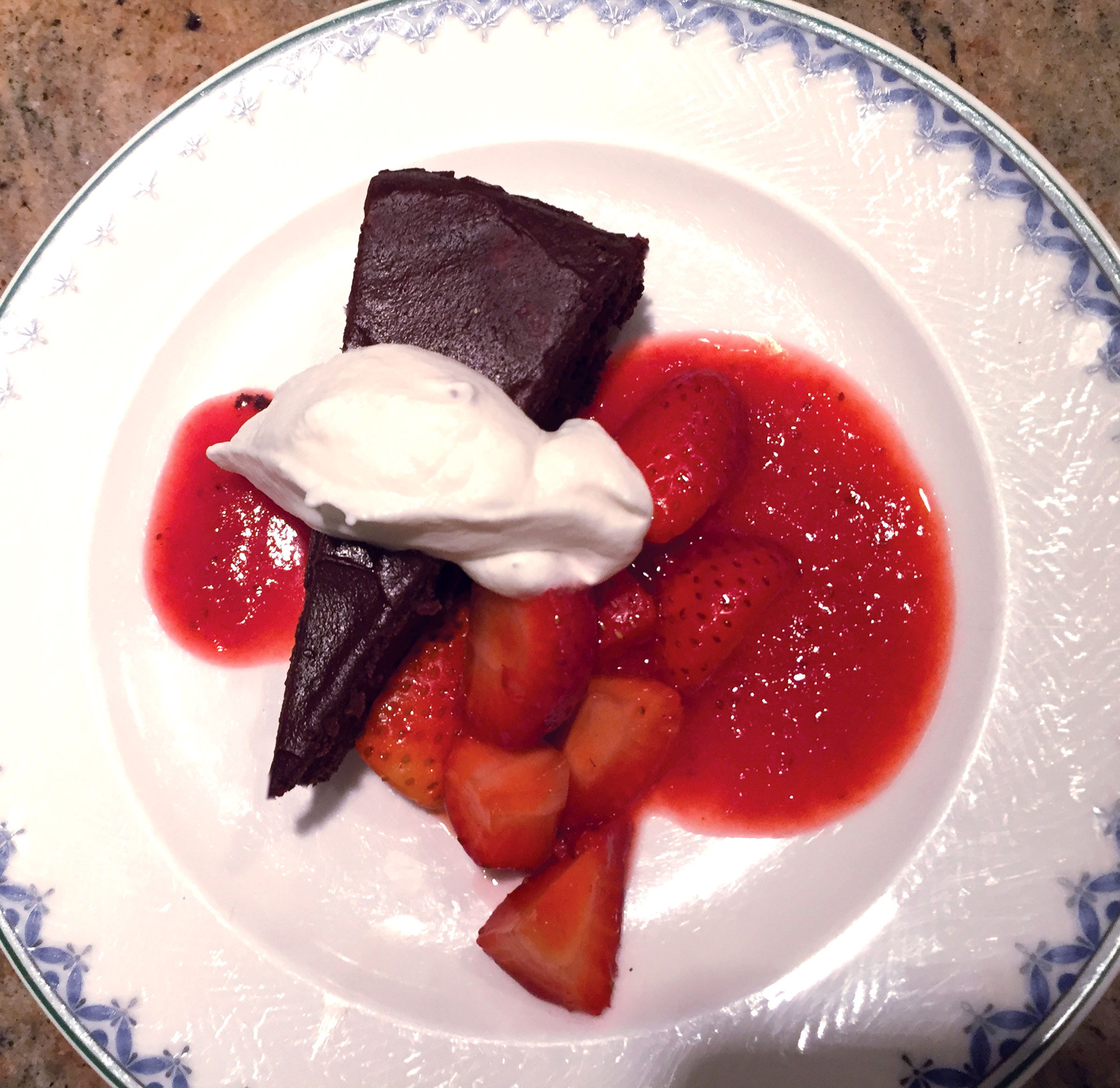 Chocolate Mousse Cake with Local Strawberries & Coulis