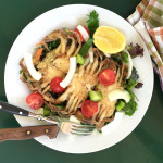 Sautéed Soft-shell Crabs over Salad