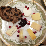Cheese Plate with Walnut Raisin Bread, Membrillo & Pomegranate Seeds