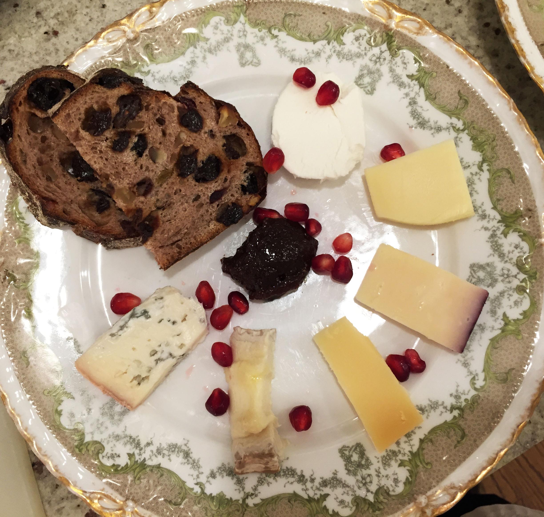 Cheese Plate with Walnut Raisin Bread, Membrillo & Pomegranate Seeds