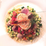 "Summer ""Succotash"" with Seared Tuna & Shrimp"