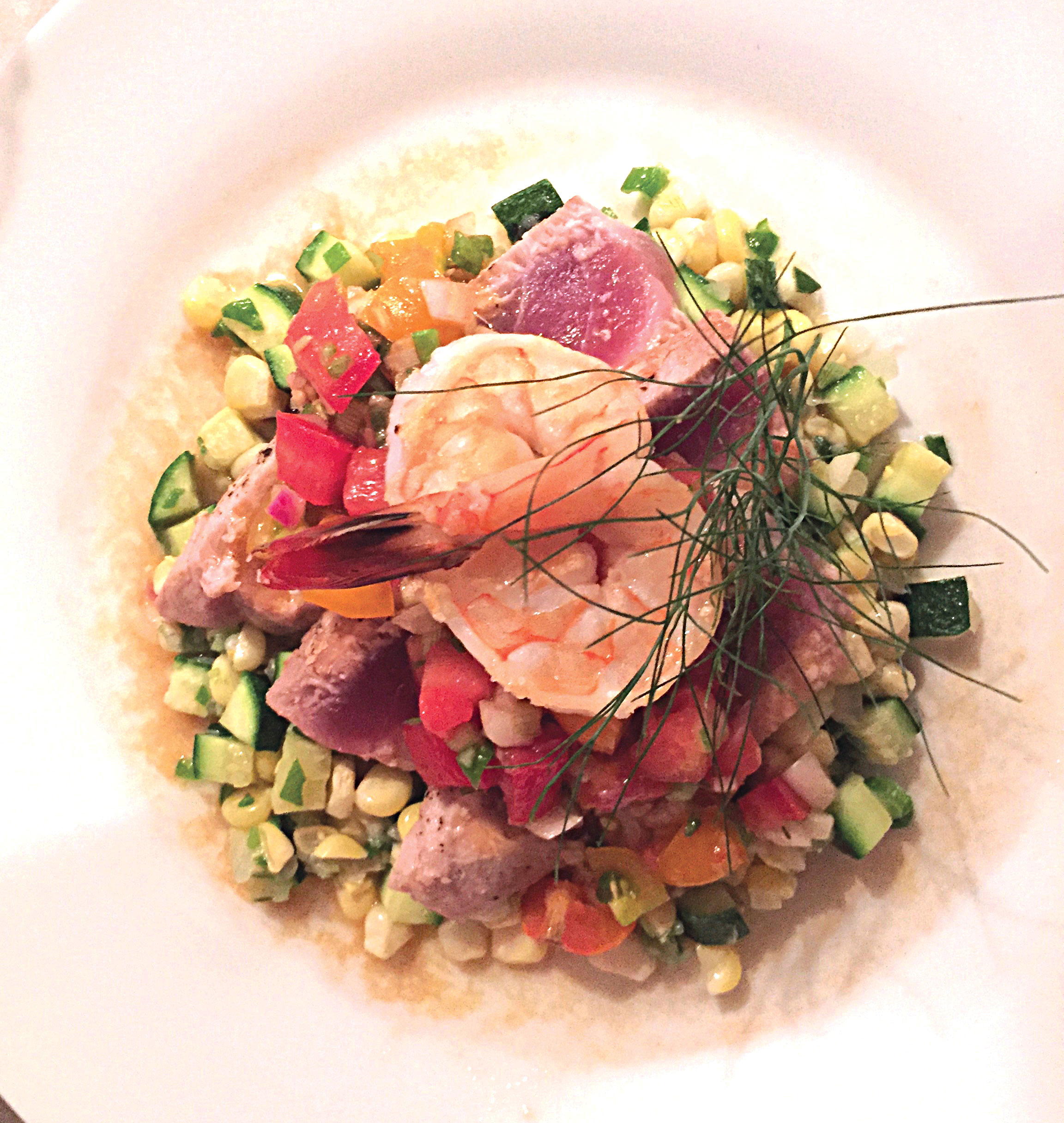 "Summer ""Succotash"" with Seared Tuna & Shrimp"