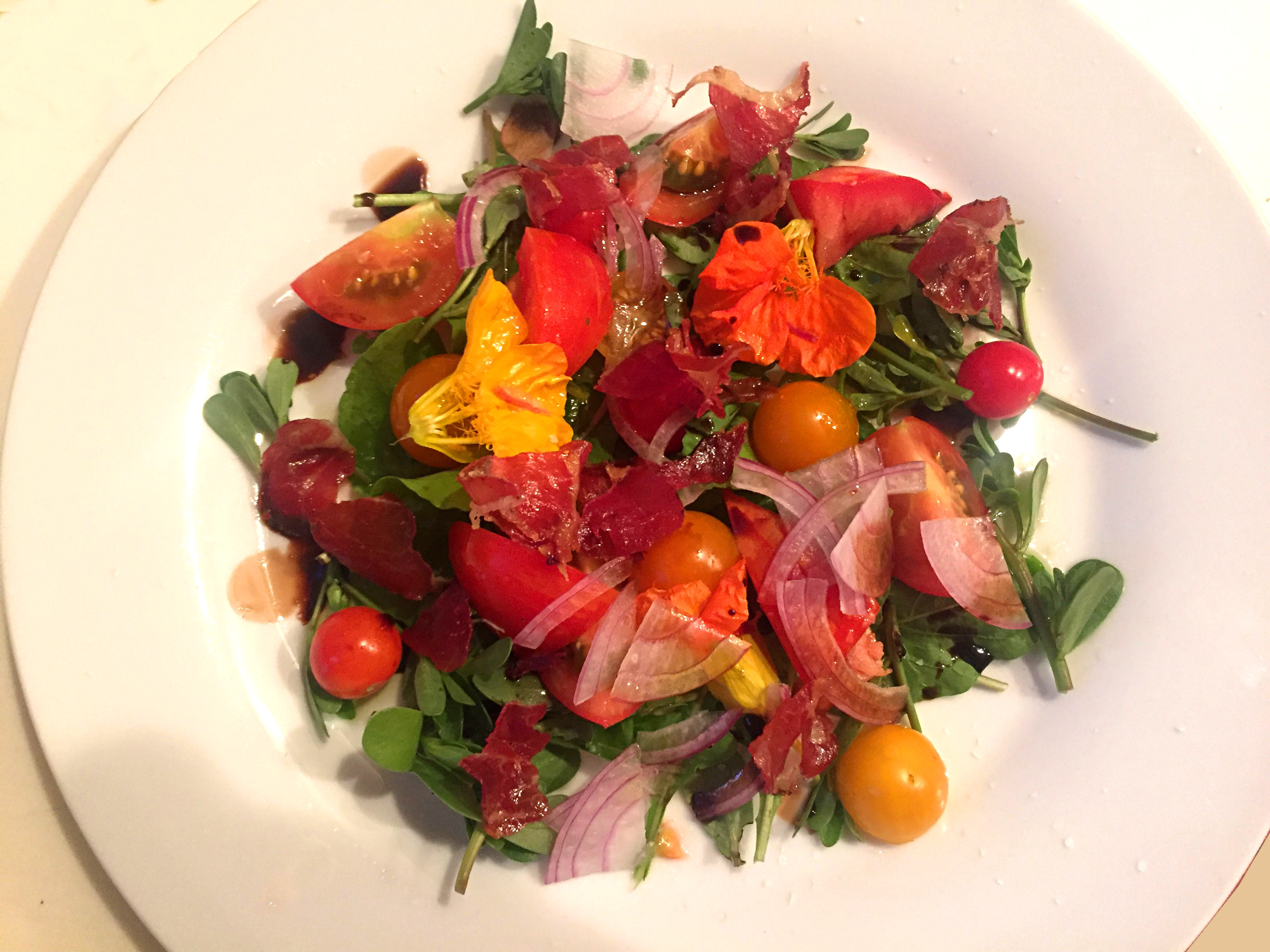 Purslane Salad with Nasturtiums & Prosciutto