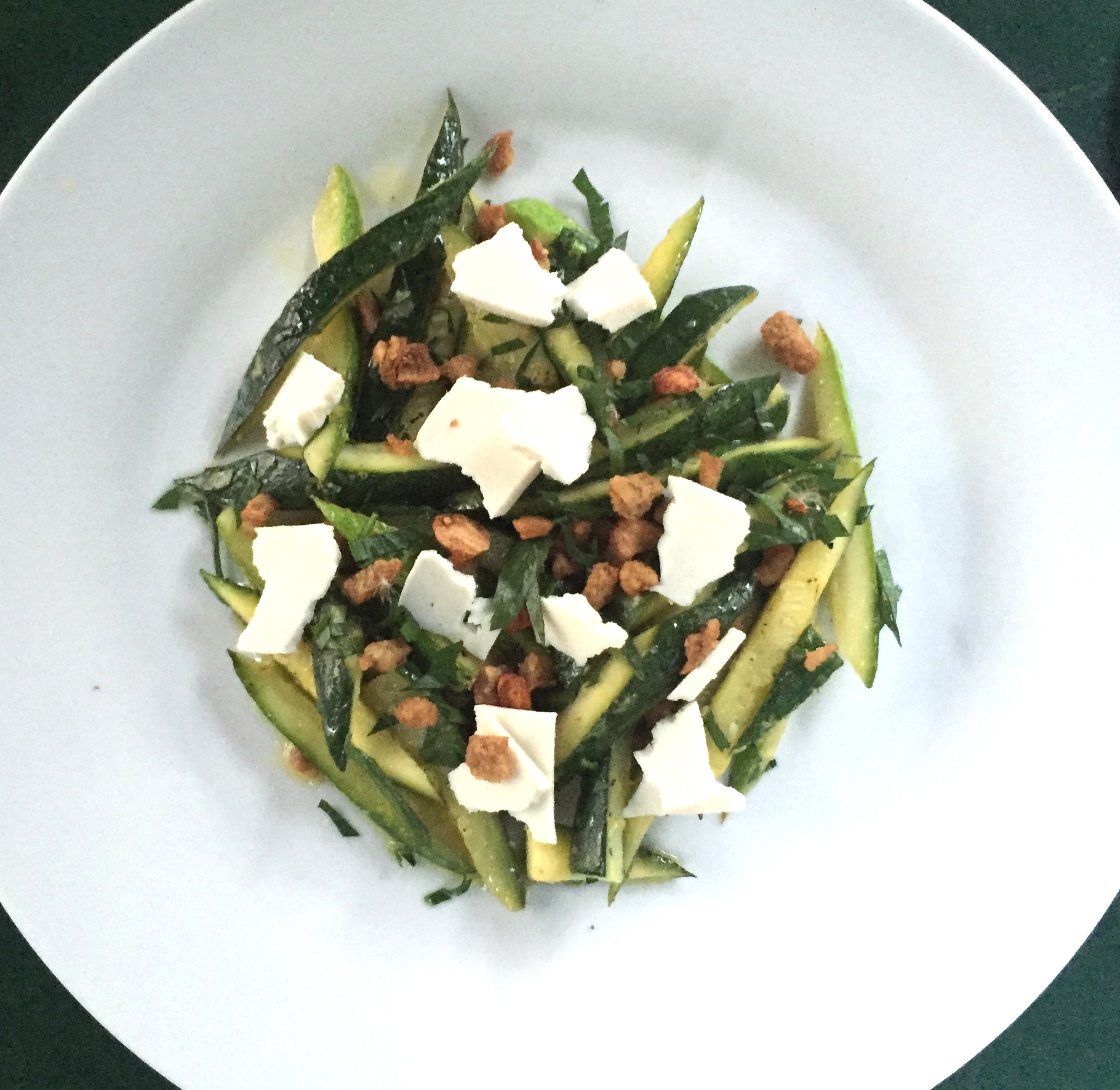 Flash-Sauted Zucchini with Lemon, Duck Crackling & Ricotta Salata