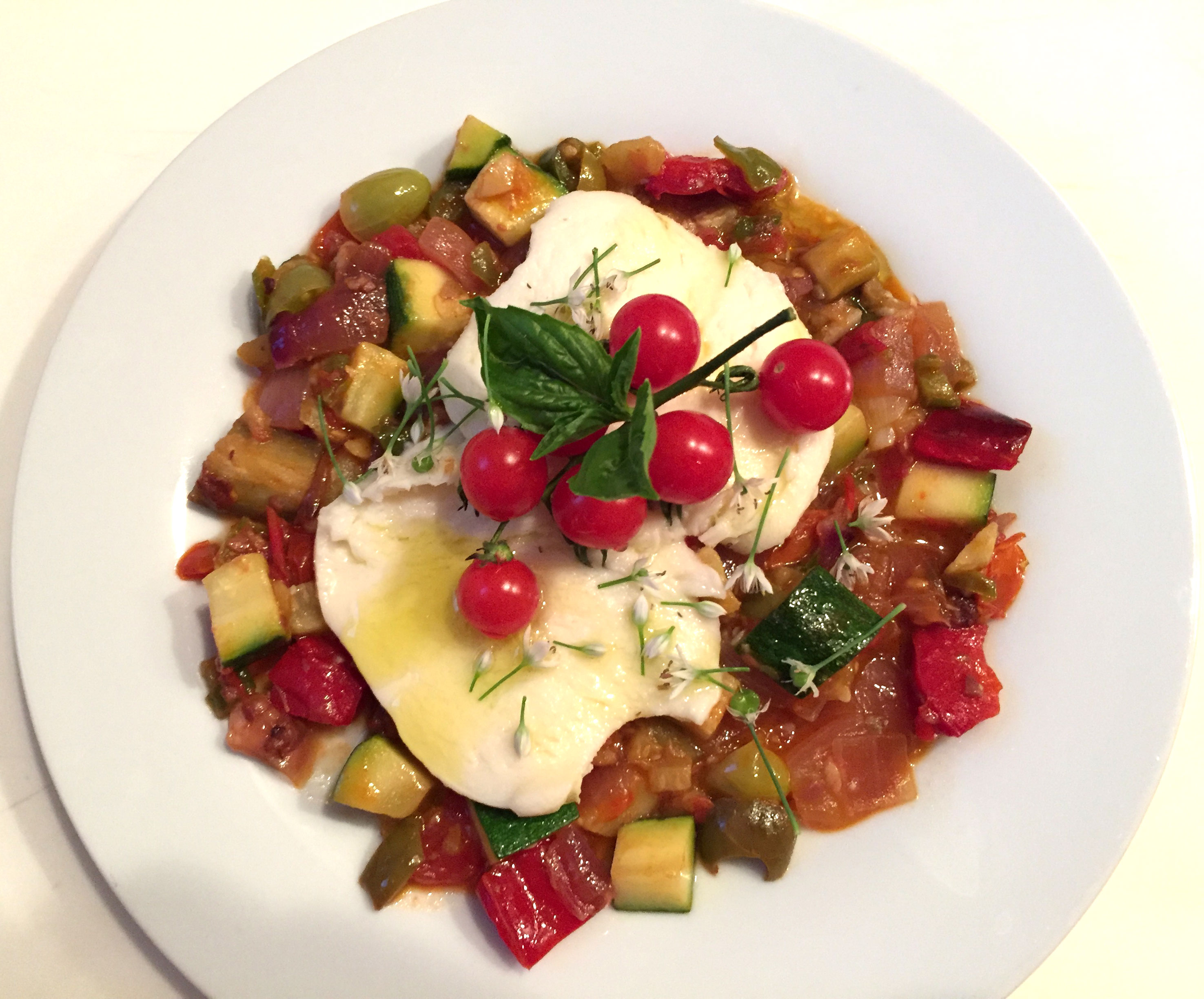 Fresh Mozzarella over Garden Ratatouille with August Chive Flowers