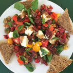 August Luncheon Salad with Fresh Mozzarella & Fried Salami