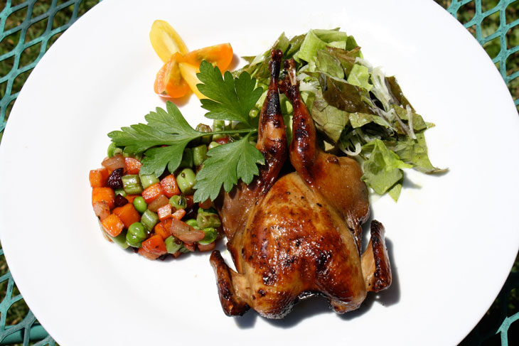 Grilled Quail with Vegetable Timbale