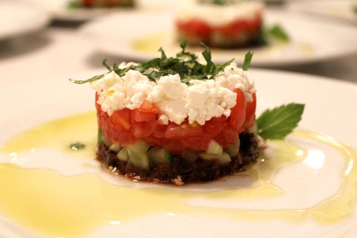 """Napoleon"" of Cucumber, Tomato & Feta"