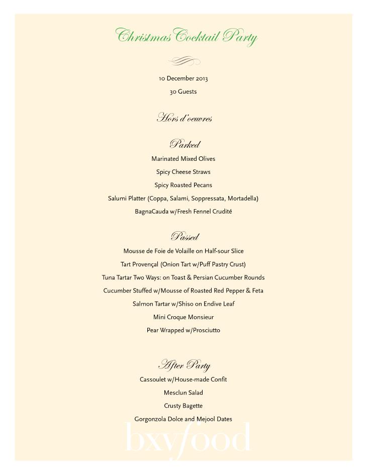 menu options sample menus buffets sample menus cocktail parties menu ...
