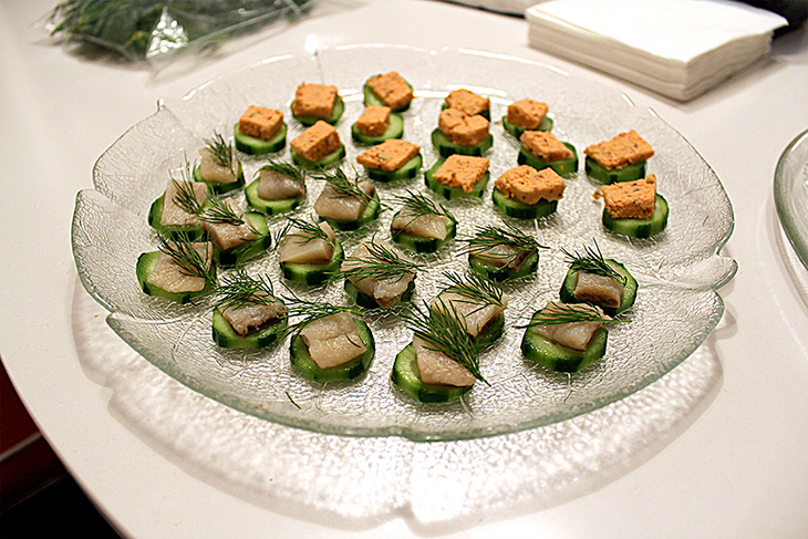 Canapés of Cured Mackerel & Salmon Mousse